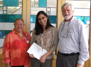Photo of Dr. Pawandeep Gill with Irene Engel and Dr. Art Hand