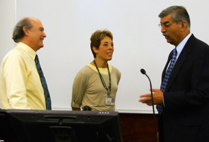 Photo of Drs. Marc Lalande, Ann Milanese, and Suman Singha