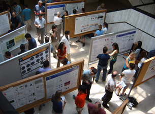 Photo of poster presentations displayed in the academic lobby