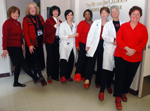 "Calhoun Cardiology Center staff members taking part in the ""Kick Up Your Heels"" campaign"