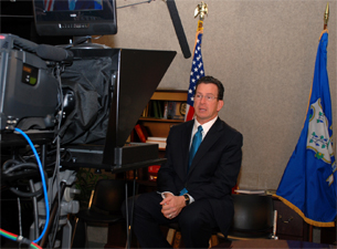 Governor-elect Dan Malloy using the BMC TV studio to tape a video message for the new Governor's website