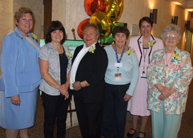 Photo of E.Carol Polifroni, Gloria Opirhory, Irene Engel, Jeanne Lattanzio, Ellen Leone, and Claire O'Neil.