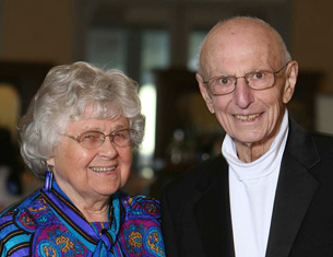 Photo of Dr. Lawrence Raisz and his wife Helen at the White Coat Gala, April 2010.