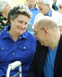 State Senator Beth Bye talks with a relative of the late Jo-Anne Smith