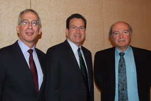 Paul Pescatello, President and CEO of CURE, Gov. Dannel Malloy, Marc Lalande, director of UConn's Stem Cell Institute.