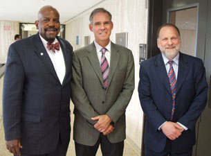 Photo of Dr. Cato T. Laurencin, Dr. Henry Kranzler, and Dr. Eric Topol