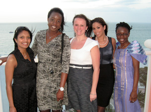 Radhika Nakrani, Yemi Ajayi, Joanne Cyganowski, Daniella Vega and Abimbola Sunmonu at the networking dinner.